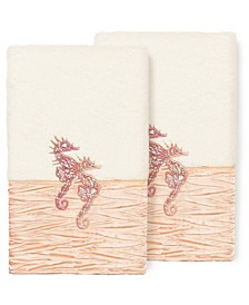 100% Turkish Cotton Sofia 2-Pc. Embellished Hand Towel Set