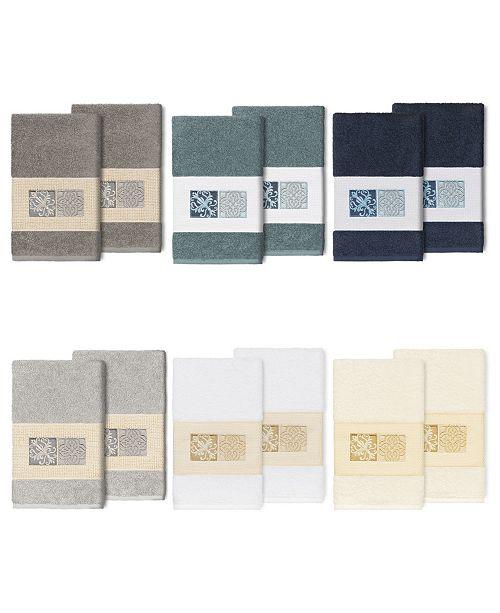 Linum Home 100% Turkish Cotton Vivian 2-Pc. Embellished Hand Towel Set