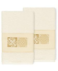 100% Turkish Cotton Vivian 2-Pc. Embellished Hand Towel Set