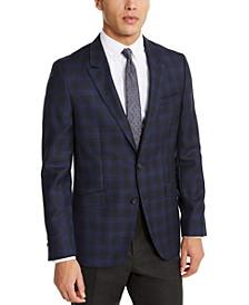 HUGO Hugo Boss Men's Slim-Fit Dark Blue/Charcoal Plaid Sport Coat