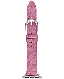 Women's Interchangeable Pink Glitter Leather Apple Watch Strap 38mm/40mm