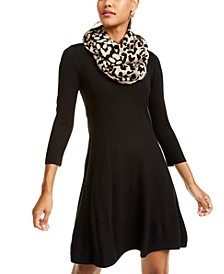 Juniors' Leopard Scarf A-Line Skater Dress