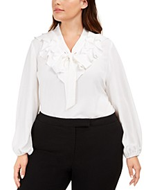 Plus Size Ruffled Tie-Neck Top