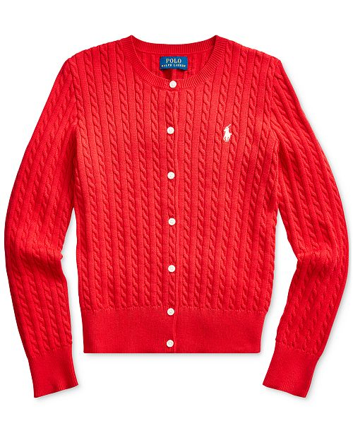 Polo Ralph Lauren Big Girls Cable-Knit Cotton Cardigan