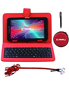 "7"" New Quad Core Tablet Super Bundle with Keyboard, Earphones and Pen Stylus Android 6.0 Dual Camera"