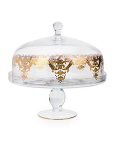 Cake Dome Stand with 24k Gold Artwork