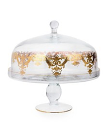 Classic Touch Cake Dome Stand with 24k Gold Artwork