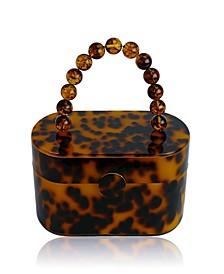 80's Vintage-Like Tortoise Acrylic Lunch Box Clutch Bag