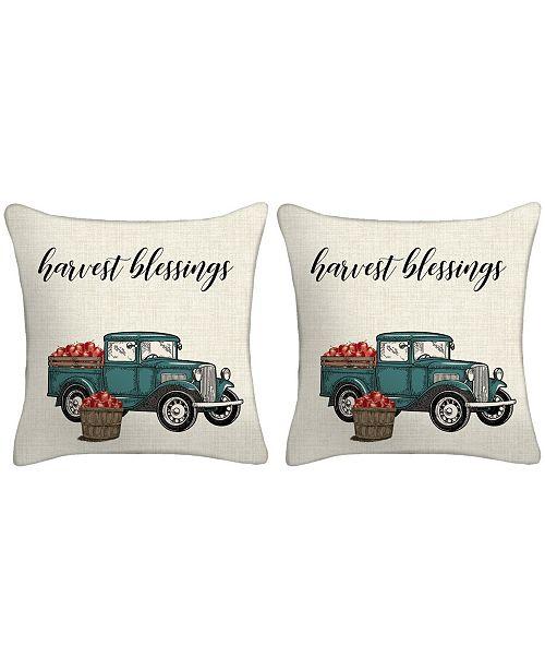 Jordan Manufacturing Set of 2- Harvest Truck Toss Pillows