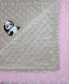 Minky Baby Girl Blanket With Embroidered Panda