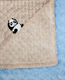 Minky Baby Boy Blanket With Embroidered Panda