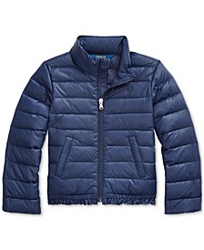 Little Girls Ruffled Quilted Down Jacket, Created For Macy's