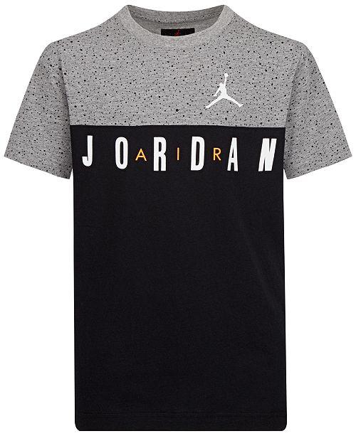 Jordan Big Boys Speckled Colorblocked Logo-Print Cotton T-Shirt