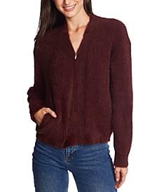 Zip-Front Eyelash Sweater