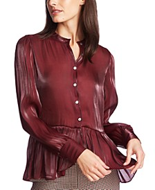 Button-Down Shimmering Sheer Peplum Top