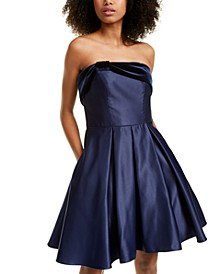 Juniors' Strapless Velvet & Satin Dress
