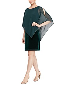 Velvet Asymmetrical Cape Dress
