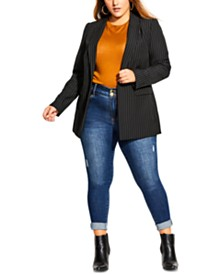 City Chic Trendy Plus Size Pinstriped Jacket