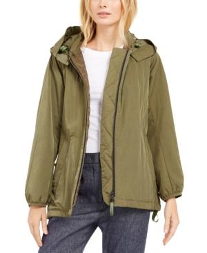 Weekend Max Mara Onde Hooded Coat In Green