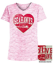 Big Girls Seattle Seahawks Heart Flip Sequin T-Shirt