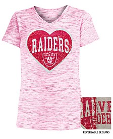 5th & Ocean Big Girls Oakland Raiders Heart Flip Sequin T-Shirt