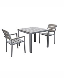 Gallant 3 Piece Sun Bleached Outdoor Dining Set
