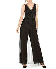 Sequined Georgette Wide-Leg Jumpsuit