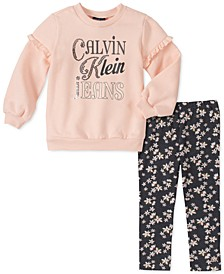 Little Girls 2-Pc. Fleece Sweatshirt & Printed Leggings Set