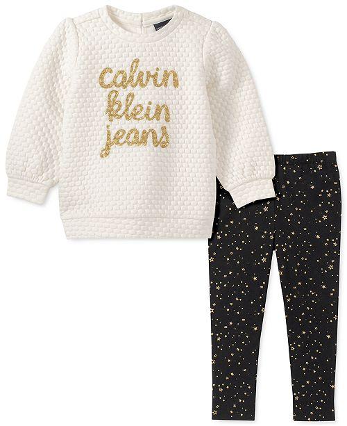 Calvin Klein Little Girls 2-Pc. Quilted Sweatshirt & Printed Leggings Set