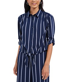 Striped Tie-Front Shirt, Created for Macy's