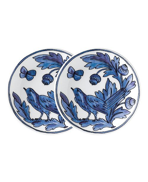 "Twig New York Blue Bird 7"" Appetizer Plates - Set of 2"