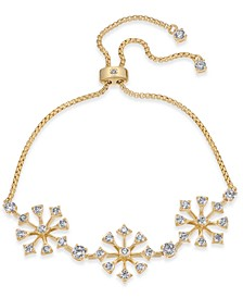 Gold-Tone Cubic Zirconia Cluster Slider Bracelet, Created for Macy's