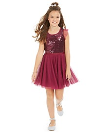 Big Girls Sequin Ruffle-Sleeve Party Dress, Created For Macy's