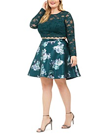 Trendy Plus Size 2-Pc. Lace & Floral-Print Dress