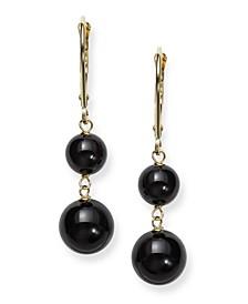 Black Onyx (14 mm)  Drop Leverback Earrings in 14k Yellow Gold