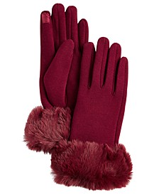 Faux Fur Cuff Jersey Touch Gloves