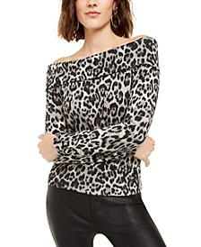Juniors' Off-The-Shoulder Animal-Print Sweater