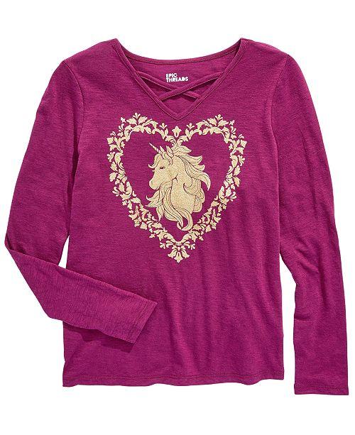 Epic Threads Big Girls Unicorn T-Shirt, Created For Macy's