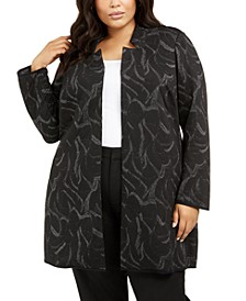 Plus Size Metallic Jacquard Long Jacket, Created For Macy's