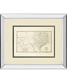 "New Map of The State of Texas Mirror Framed Print Wall Art - 34"" x 40"""