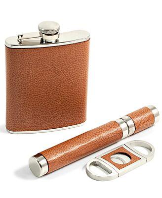 bey berk 6 ounce flask cigar and cutter gift set bar