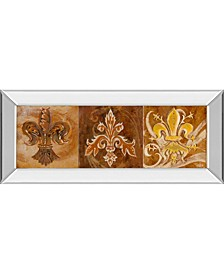 "Fleur De Lis Trio Il by Thomas Riker Mirror Framed Print Wall Art - 18"" x 42"""