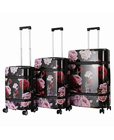 Triforce Versailles 3-Piece Spinner Floral Luggage Set