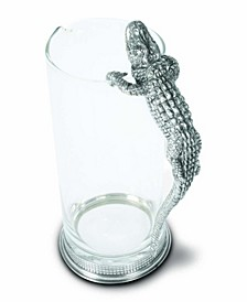 Glass Pitcher with Pewter Alligator
