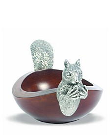 Large Acacia Wood Nut Bowl with Black Forest Pewter Metal Squirrel Head and Tail