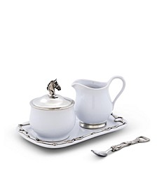 "Stoneware Sugar and Creamer Set ""Equestrian"" with Tray and Solid Pewter Accents"