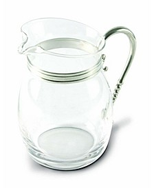 Curved Glass Pitcher Classic Pewter Handle, Lemonade - Water - Ice Tea Pitcher