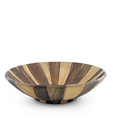 Salad Bowl Acacia Wood Serving for Fruits or Salads Wok Wave Style Extra Large Single Wooden Bowl
