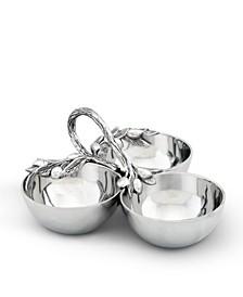 Sand-Cast Aluminum 3 Compartment Olive Pattern Condiment Serving Bowl