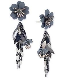 Multi-Tone Flower Chain Linear Earrings